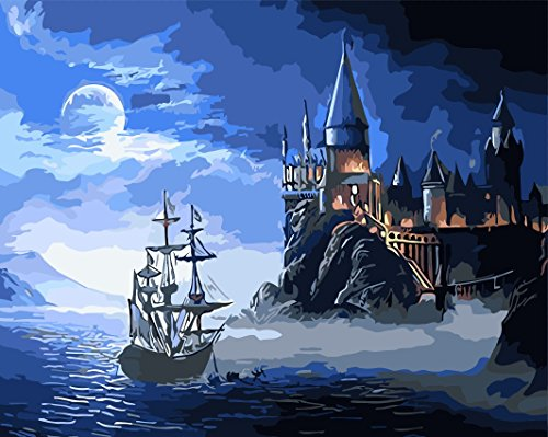 Diy Oil Painting, Paint by Number kit Castle 16x20 inch Frameless By Friday's Chance