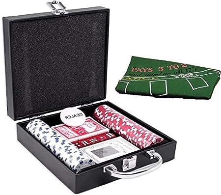 DELUX Juego de Poker 100 Fichas Profesional Maletin 2 Barajas Dealer 5 Dados tapete: Amazon.es: Juguetes y juegos