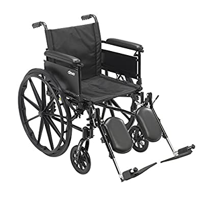 "Drive Medical Cruiser X4 Lightweight Dual Axle Wheelchair with Adjustable Detachable Arms, Full Arms, Elevating Leg Rests, 20"" Seat"