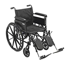 """Drive Medical Cruiser X4 Lightweight Dual Axle Wheelchair with Adjustable Detachable Arms, Full Arms, Elevating Leg Rests, 20"""" Seat"""