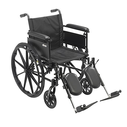 Drive Medical Cruiser X4 Lightweight Dual Axle Wheelchair with Adjustable Full Arms Seat with Elevating Leg Rests, Silver Vein, 20 Inch