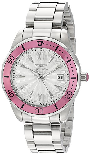 Invicta Women's 'Pro Diver' Quartz Stainless Steel Watch, Color:Silver-Toned (Model: - Resistant Cabochon Water Bracelet