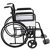 Gymax Lightweight Wheelchairs, Manual Folding Medical Transport Wheelchair with Handbrakes Footrest for Extra Comfort, 17x18 Seat (Detachable Leg Rests)