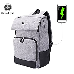 Laptop Backpack,Swissdigital Urban Water Resistant Polyester and Canvas Casual and Backpack for College Daypack Bag with USB Charging Port and RFID for Man and Woman Fits Under 14-Inch Laptop , Grey
