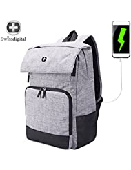 Laptop Backpack,Swissdigital Casual and lightweight Backpack for School and Travel with USB Charging Port and...