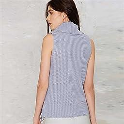 Sexy Turtleneck Sleeveless Cable Stitch Longline Sweater Jumper Vest Top Purple XL