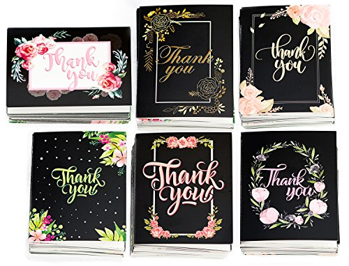 Thank You Cards Bulk with Envelopes - 36 Cards, 6 Elegant Designs with Blank Inside for Your Favorite-Include Plastic Box for Wedding Baby Shower Graduation Business Funeral Farewell (Set A)