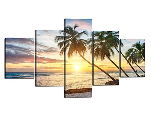 Yatsen Bridge Sunset Palm Beach Ocean Landscape Seascape Modern Pictures Painting on Canvas 5 Panels Combination Enlarge for Wall Art Living Room Home Decor Framed Stretched (70''W x 40''H) ()