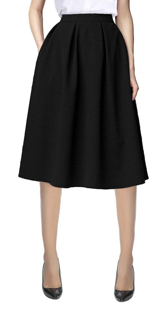 Women's Flared A line Pocket Skirt High Waist Pleated Midi Skirt (M, Black)