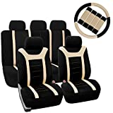 FH GROUP FH-FB070115+FH2033 Sports Fabric Car Seat Covers, Airbag compatible and Split Bench with Steering Wheel Cover, Seat Belt Pads Beige- Fit Most Car, Truck, Suv, or Van FH Group Seat Covers