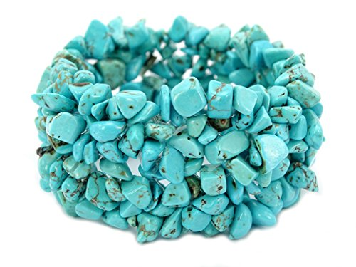 Turquoise Nugget Set - jennysun2010 30mm Wide Natural Blue Turquoise Gemstone Chip Nugget Beaded Fashion Stretchy Bracelet Healing 1 Strand 6'' Inches Wrist