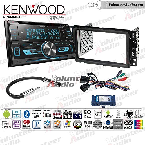 Kenwood DPX503BT Double Din Radio Install Kit With Sirius XM Ready, CD Player, USB/AUX Fits 2013-2014 Buick Enclave, 2013-2014 Chevrolet Traverse (Steering wheel controls)