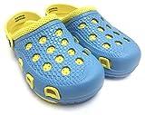Fresko Girl's Summer Clogs, Blue/Yellow, Size 2