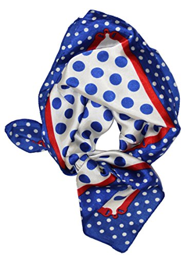 Ted and Jack - Summertime Silk Feel Neckerchief Scarf in Blue Polka (Dot Silk Scarf)