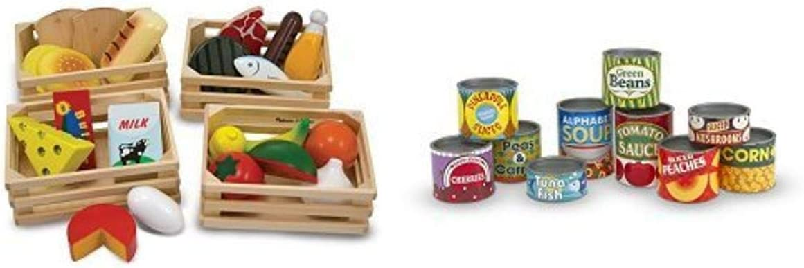 Melissa & Doug Food Groups and Melissa & Doug Let's Play House! Grocery Cans Bundle