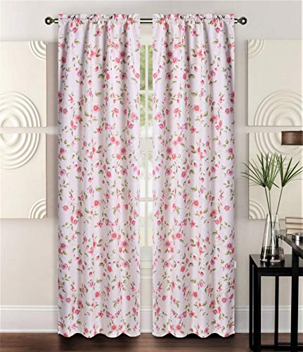 (Sapphire Home 2 Rod Pocket Curtain Panels 84 Inches, Decorative Floral Print, Light Filtering Room Darkening Thermal Foam Back Lined Panels for Living/Bedroom Room/Patio, Beige/Rose/Pink/Green, W10)
