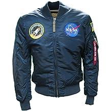 Alpha Industries Mens Navy Blue MA1 NASA Retro Flight Pilot Bomber Jacket