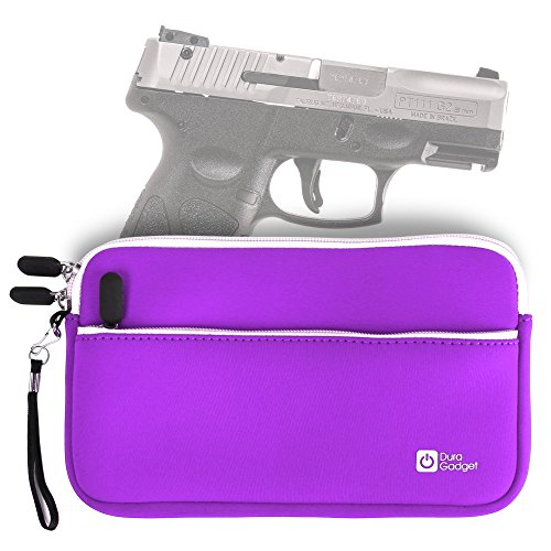 Neoprene Gun Bag - DURAGADGET Taurus PT111 Millennium G2 Handgun Case - Light Purple 7 Inch Water & Scratch-Resistant Neoprene Zip Case for Taurus PT111 Millennium G2 Pistol - Stay Protected in Style!