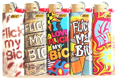Flic My Bic Full Sized Lighters Mix Set Lot of 5 by BIC