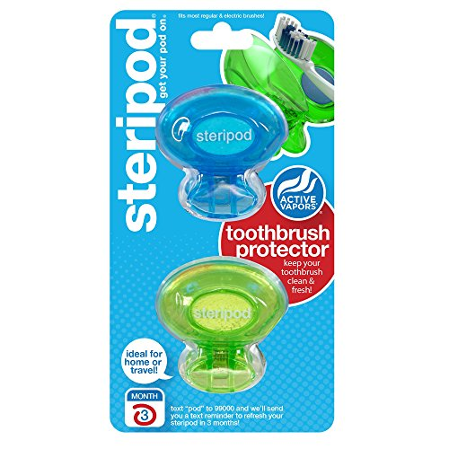 Steripod Clip-on Toothbrush Protector (2-Pack Blue & Green) I Against Soap, Dirt and Hair I For Travel, Home, Camping