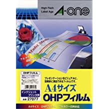 Uncut sheets of 10 27077-One (A-one) OHP film for inkjet printers A4 size (japan import)