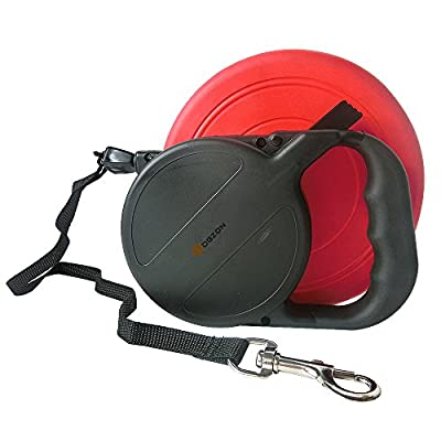 Unifery Pet Supplies - Dogs 2.3 OZ Interactivetraining safe Soft Silicone Red Flying Disc, New Retractable Black Dog Leash, Extends 26 Feet Long