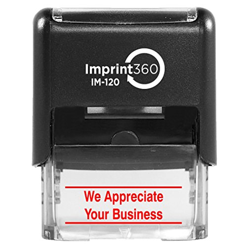 Imprint 360 As Imp1137r We Appreciate Your Business With Upper And Lower Bars  Red Ink  Heavy Duty Commercial Self Inking Rubber Stamp  9 16  X 1 1 2  Impression Size