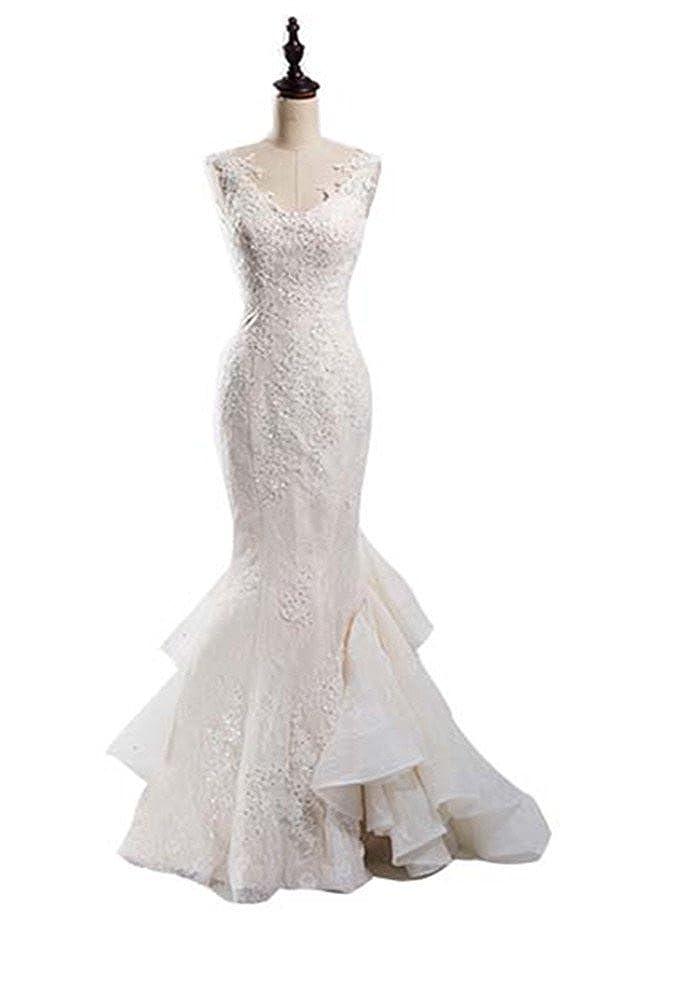 Snow Lotus Women's White Long Sweetheart Mermaid Wedding Dresses