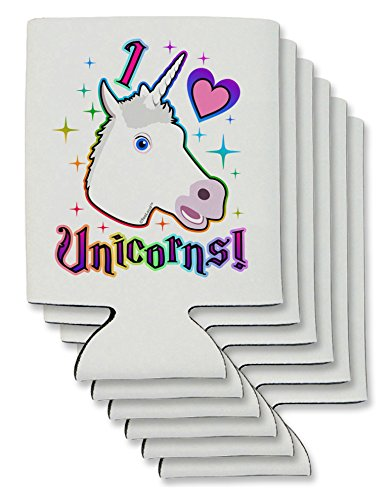 TooLoud I love Unicorns Can/Bottle Insulator Coolers - 6 Pie