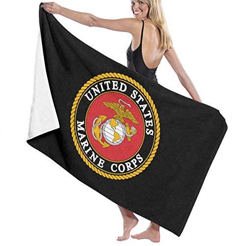 CLIMETO Marine Corps Beach Towels Ultra Absorbent Microfiber Bath Towel Picnic Mat for Men Women Kids White