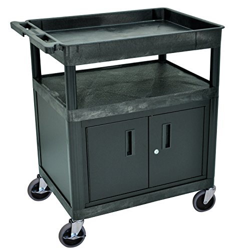 (LUXOR TC122C-B Tub Top Utility Cart with Cabinet, 39.5