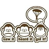 DIE DREI AFFEN - SAW IT - HEARD IT - GOT IT! - FALLSCHIRM FALLSCHIRMSPRINGER Aufkleber Autoaufkleber Sticker Vinylaufkleber Decal