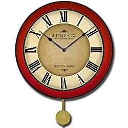 The Big Clock Store Galway Red Pendulum Wall Clock, Available in 5 sizes, Whisper Quiet, non-ticking