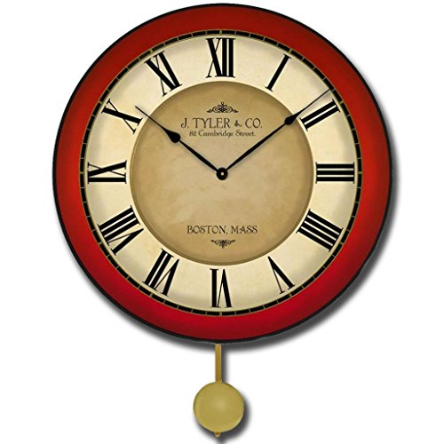 - Galway Red Pendulum Wall Clock, Available in 5 sizes, Whisper Quiet, non-ticking