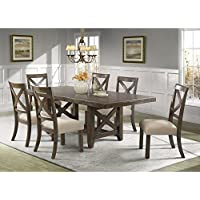 Picket House Furnishings Francis Dining Set-Table & 6 X-Back Wooden Side Chairs Rustic/Chestnut/Rubber Wood/7 Piece