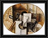 This is a high quality large framed open edition canvas art piece. The frame is a two inch black ornate wood frame. The high quality canvas art piece is stretched around stretcher bars before framing. This is in stock and framed right away. Your sati...