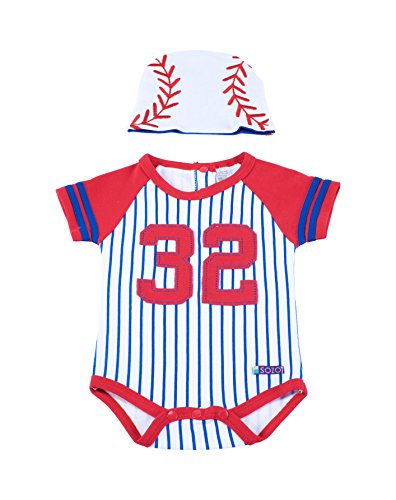White Baseball Cap Set - Sozo Baby-Boys Newborn Baseball Bodysuit and Cap Set, White/Red/Blue, 3-6 Months
