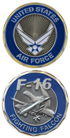 United States US Air Force Military F-16 Fighting Falcon Plane - Good Luck Double Sided Collectible Challenge Coin - F-16 Falcon Game