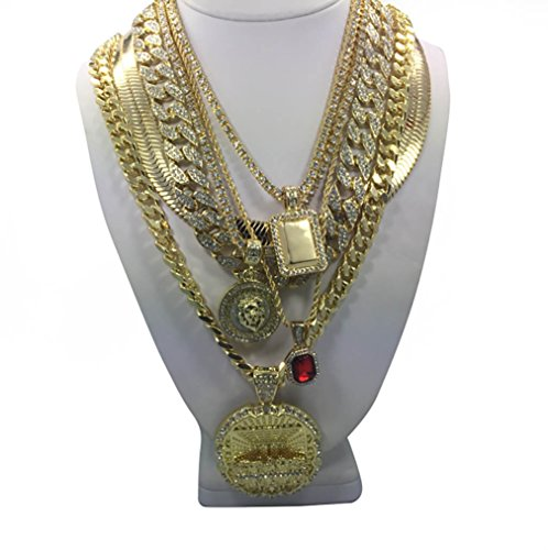 6 Pc. CZ Stone Hip Hop Necklace Set CZ Tennis Choker Chain Set 18'' & 20'' Inch Necklace Migos Style Hip Hop Short Chains by Rob'sTees