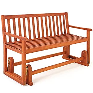 Deuba Wooden Swinging Seater Bench Garden Outdoor Rocking Glider Benches made of Tropical Acacia hardwood 125x90cm