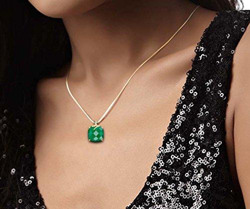 18K Or Blanc 0,02ct tw Round-cut-diamond (IJ | SI) et vert Onyx Pendentif