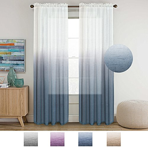 Linen Sheer Rod Pocket Curtain Panels Natural and Draped Window Draperies & Curtains Sheer Living Room Curtains for Bedroom, Bluestone Ombre Two Tone, 2 Panels (Ombre Curtain Panel Blue)