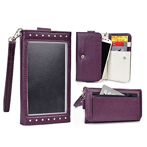 Cooper Cases(TM) Expose Women's Clutch Archos 40 Cesium, 40 / 40b / 40c Titanium Smartphone Wallet Case Purple / White (Elegant Dual-Tone Leather, Built-in Plastic Screen Shield, Credit Card/ID Slots, Zipper Pocket, Carrying Strap)