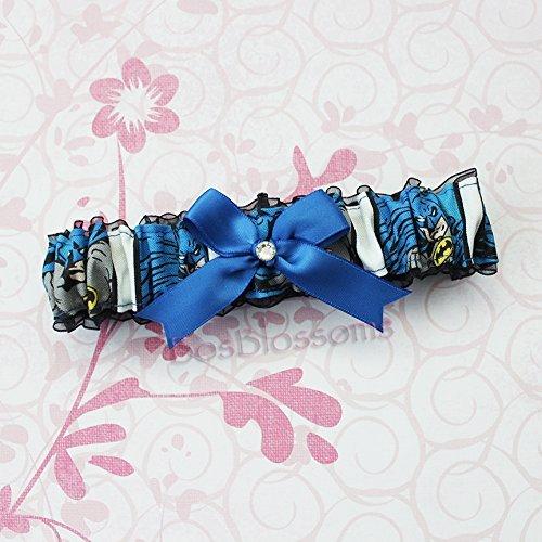 Customizable handmade - Batman fabric on black sheer organza armband bridal wedding prom garter