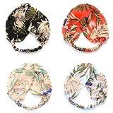 Peach & Pepper 4 PCS Chiffon Twist Front Elastic Headband Headwrap Hairband Turban for Women Girls