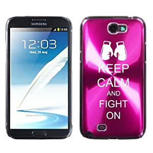 Samsung Galaxy Note 2 II N7100 Hot Pink 2F1512 Aluminum Plated Hard Case Keep Calm and Fight On Boxing Gloves