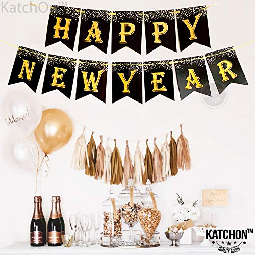 Sturdy Black Cardstock No DIY Required Hanging Garland Sign Great for Oscars Award Themed New Years Eve Party Supplies Kit Happy New Year Banner Decorations Home Office Gold foil Letter