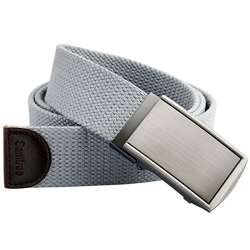 Samtree Canvas Web Belts for Men Womens,Adjustable Military Automatic Buckle Belt(02-Gray)