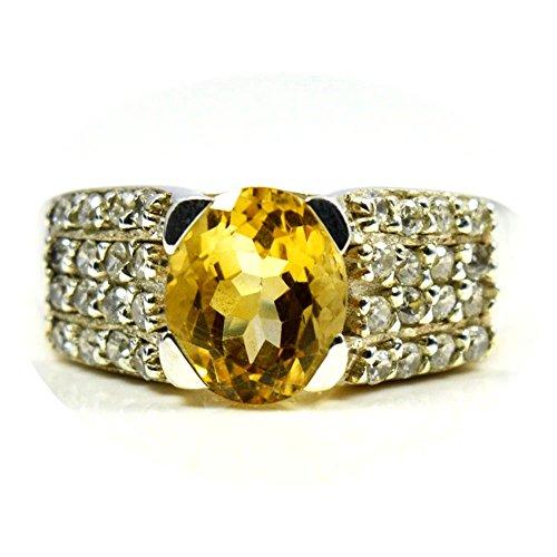 Gemsonclick Natural Citrine oval Shape Ring 925 Sterling Silver GOCMSR-311