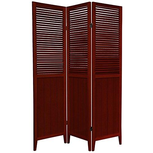 Oriental Furniture 6 ft. Tall Beadboard Divider - Rosewood - 3 Panels